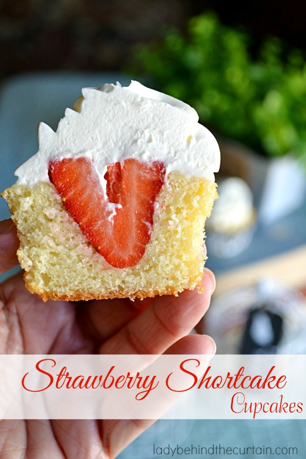 made these scrumptious Strawberry Shortcake Cupcakes for a friends ...