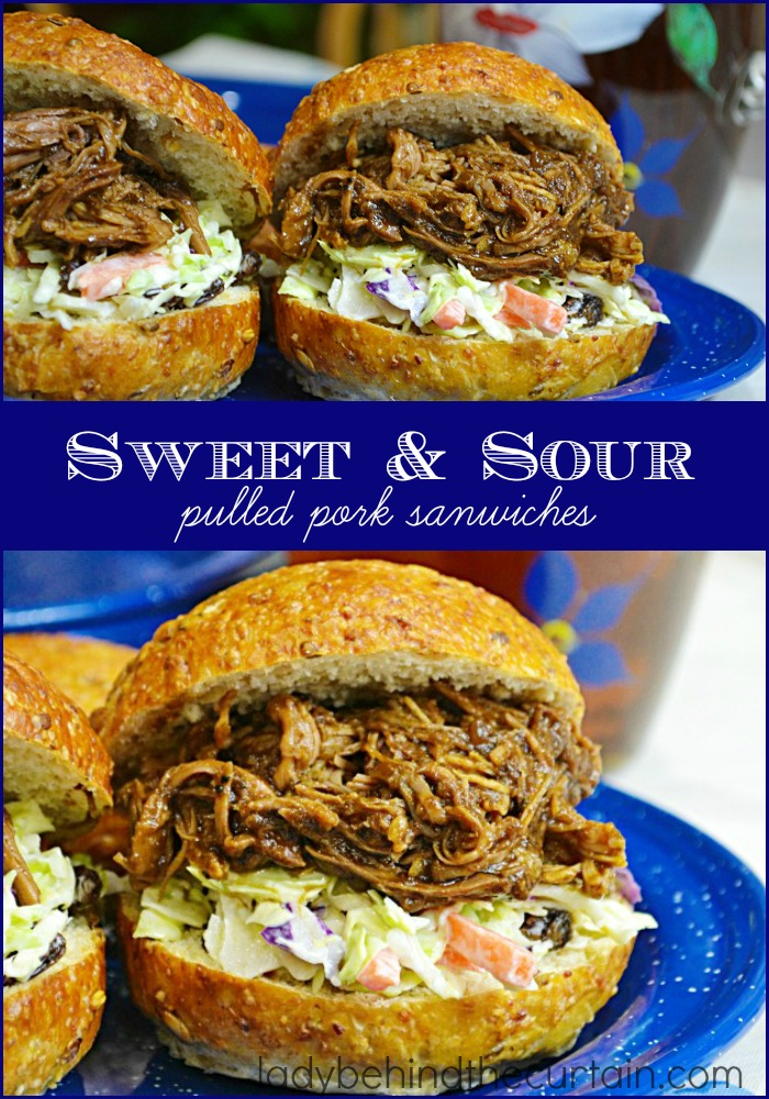 These Sweet and Sour Pulled Pork Sandwiches have a savory flavor from the barbecue sauce but the addition of the sweet coleslaw really makes this sandwich standout!