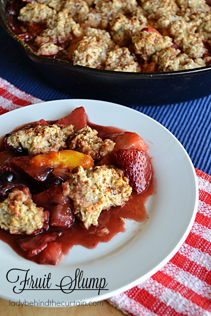 Fruit Slump | A slump is a fruit dessert made in a skillet and topped with a sweet biscuit topping.