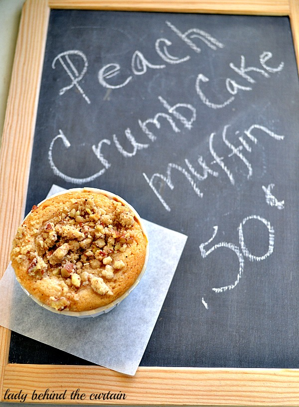 Lady Behind The Curtain - Peach Crumb Cake Muffins