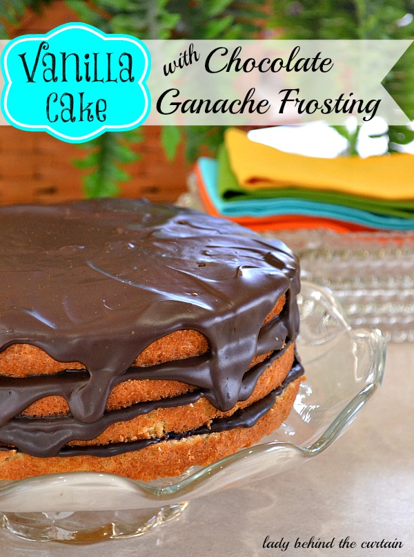 Chocolate Cake with Vanilla Frosting Topped with Ganache & Chocolate ...