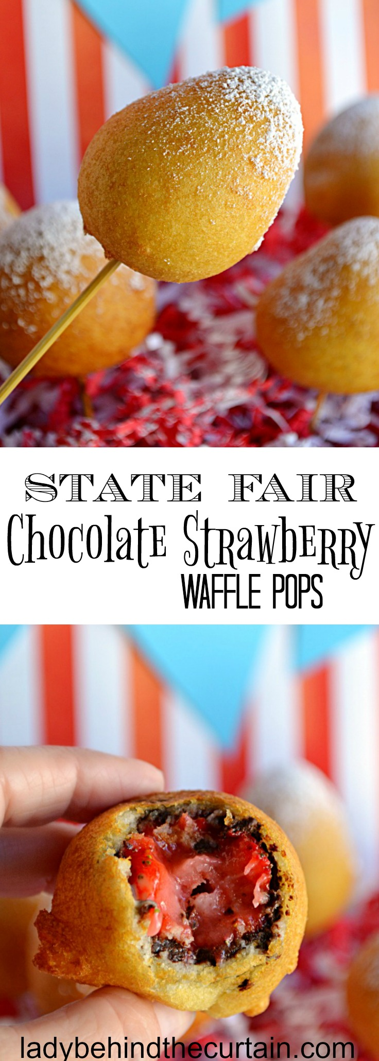 State Fair Chocolate Strawberry Waffle Pops   carnival party, state fair party, circus party, chocolate recipe, strawberry recipe, waffle recipe