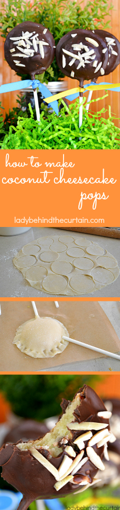 How to Make Coconut Cheesecake Pops | Made with an almond coconut cheesecake filling, encased with store bought pie dough and dipped in dark chocolate.