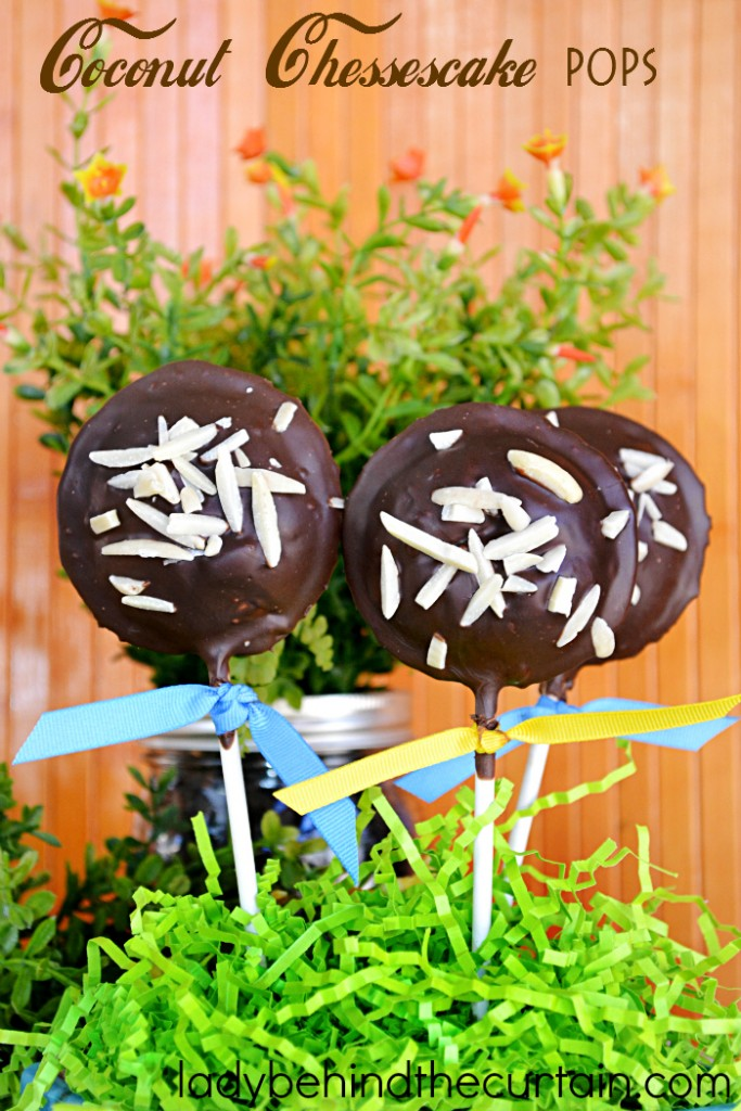 How to Make Coconut Cheesecake Pops   Made with an almond coconut cheesecake filling, encased with store bought pie dough and dipped in dark chocolate.