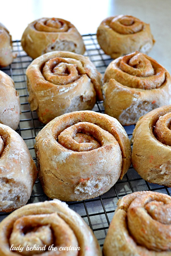 Lady Behind The Curtain - Carrot Cake Cinnamon Rolls