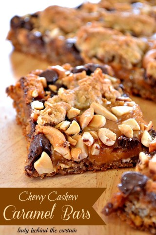 Lady Behind The Curtain - Chewy Cashew Caramel Bars