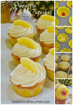 Pineapple Cupcakes | A layer of pineapple tucked in the middle with a cherry surprise at the bottom all topped with a cream cheese frosting.