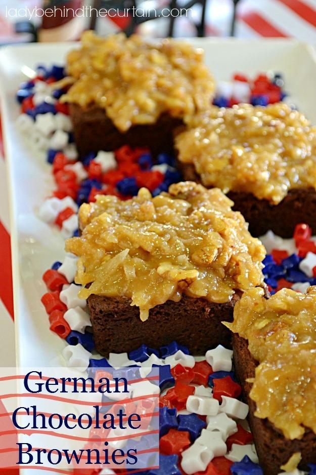 German Chocolate Brownies - Lady Behind The Curtain