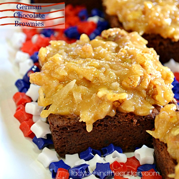 German Chocolate Brownies - Lady Behind The Curtain
