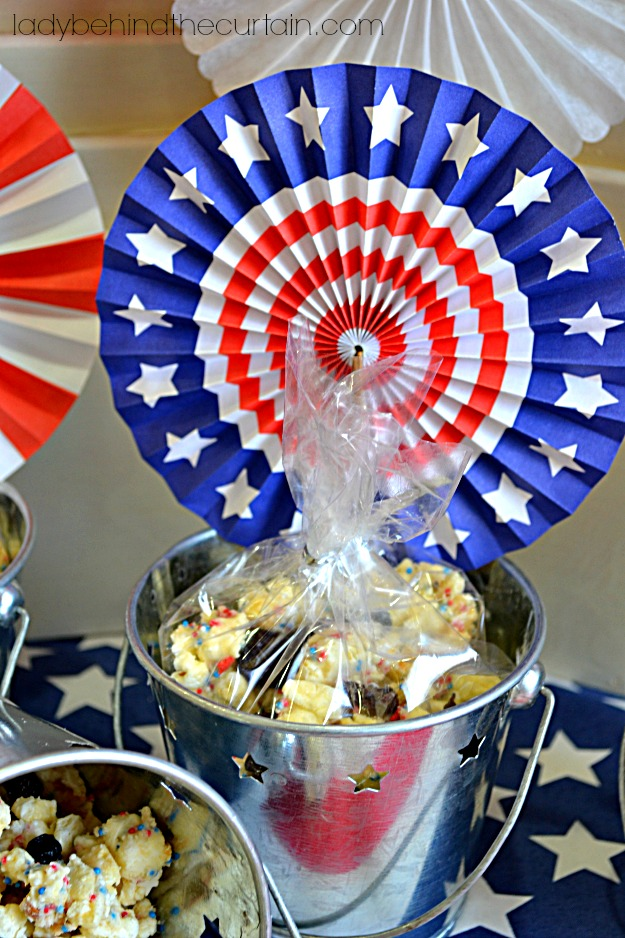 Red White and Blue Cake Batter Popcorn - Lady Behind The Curtain