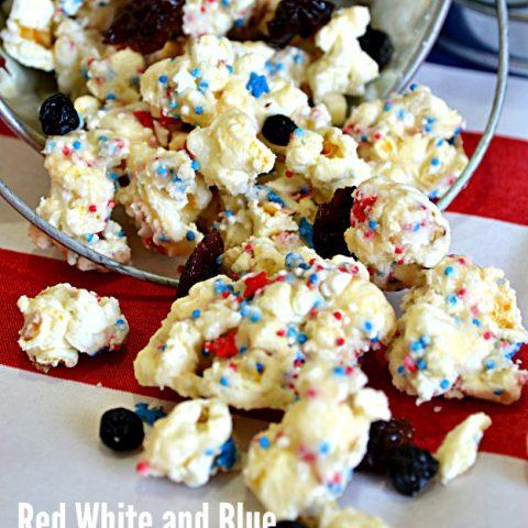 Red, White & Blue Cake Batter Popcorn