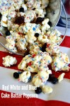 Red, White & Blue Cake Batter Popcorn
