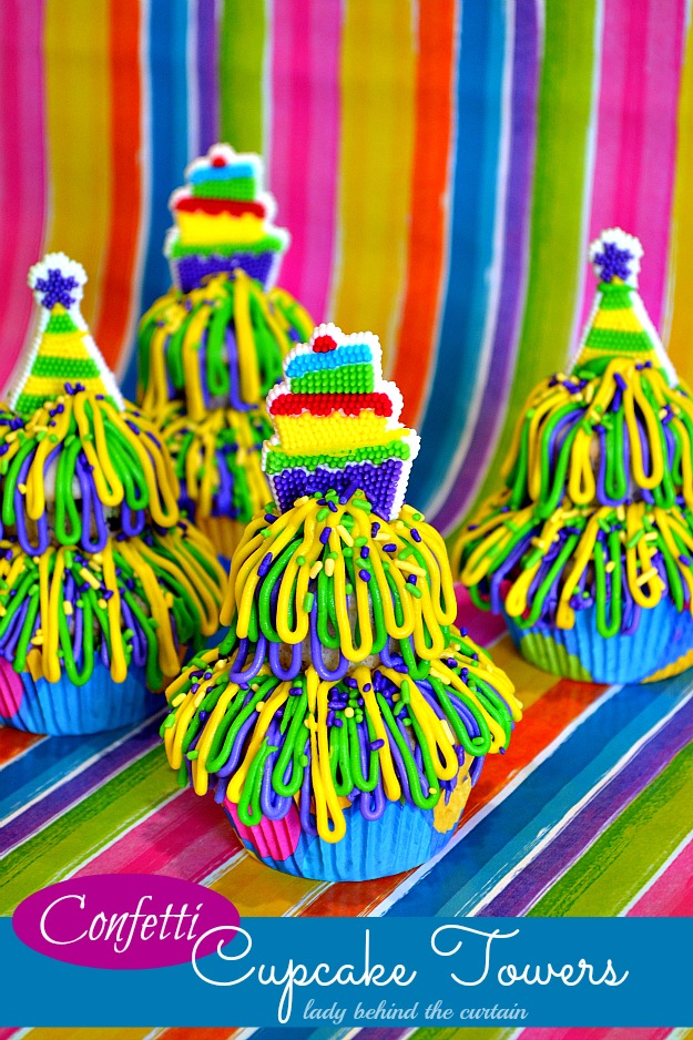 Confetti Cupcake Towers - Lady Behind The Curtain
