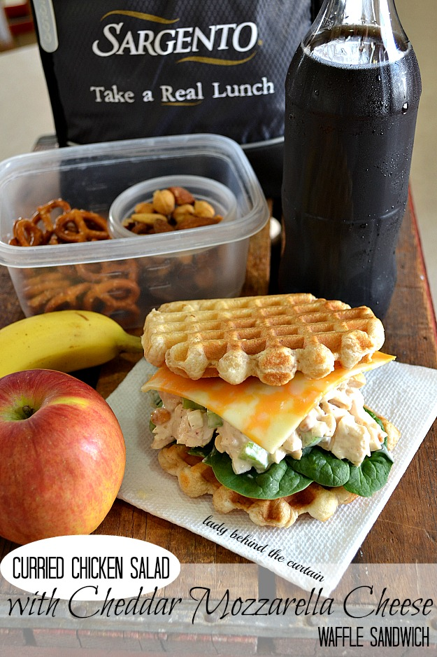Curried Chicken Salad with Cheddar Mozzarella Cheese Waffle Sandwich