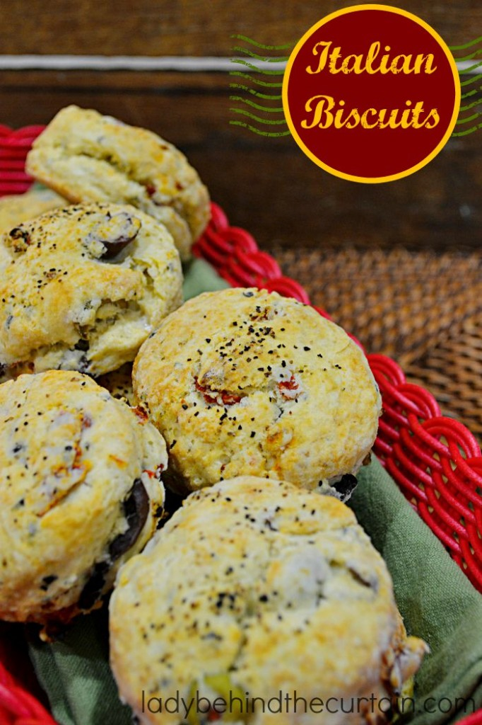 There is no denying these Italian Biscuits are packed with flavor. Like Kalamata olives, sun dried tomatoes and basil.