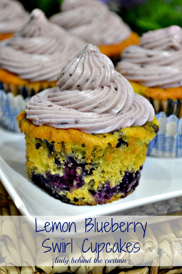 Lemon Blueberry Swirl Cupcakes - Lady Behind The Curtain