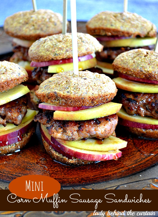 Mini Corn Muffin Sausage Sandwiches - Lady Behind The Curtain