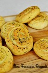 Mini Focaccia Rounds | Crispy on the outside and tender on the inside topped with your favorite Italian herbs.