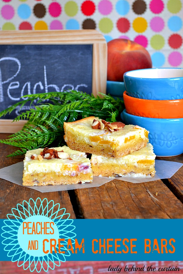 Peaches and Cream Cheese Bars - Lady Behind The Curtain