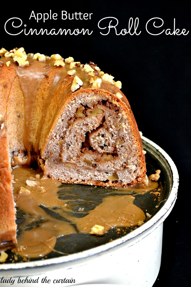 Apple Butter Cinnamon Roll Cake - Lady Behind The Curtain