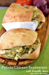 Pulled Chicken Sandwiches with Tomatillo Sauce