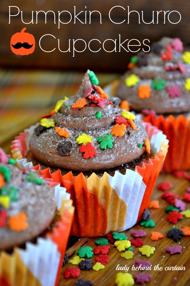 Pumpkin Churro Cupcakes - Lady Behind The Curtain