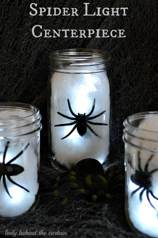Halloween spider light centerpiece for Diy hotel decor
