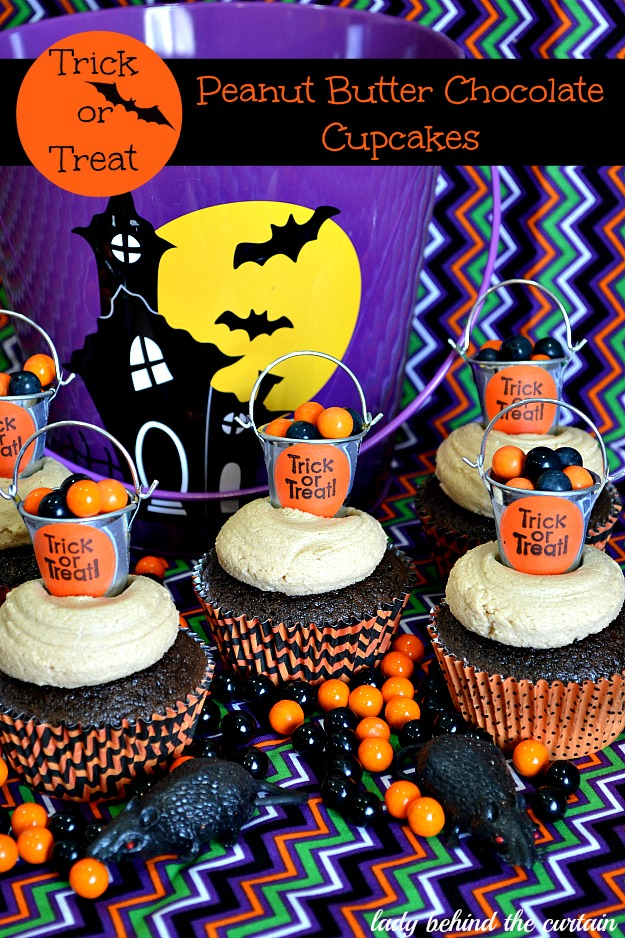 Trick or Treat Peanut Butter Chocolate Cupcakes - Lady Behind The Curtain