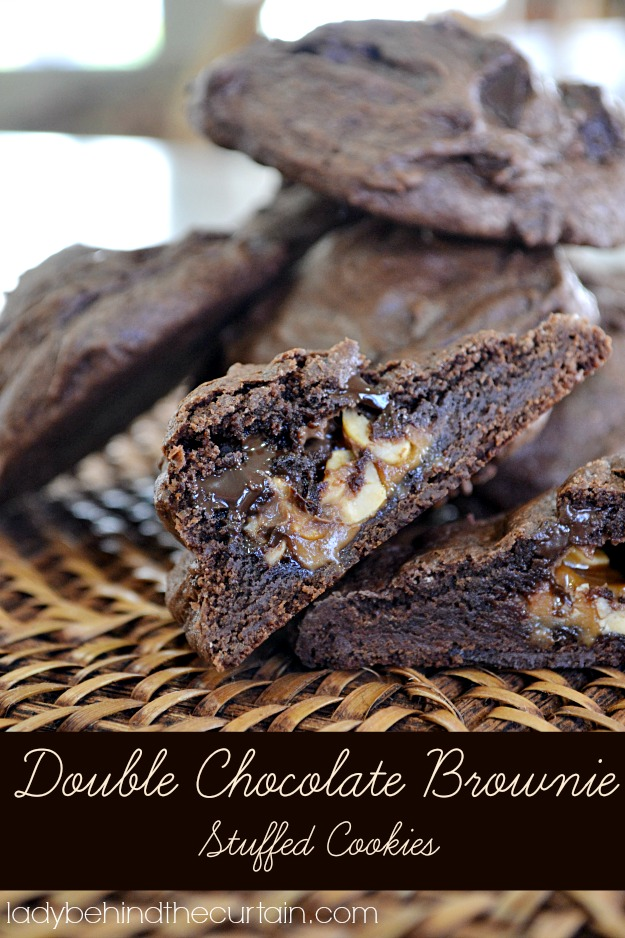 Double Chocolate Brownie Stuffed Cookies - Lady Behind The Curtain