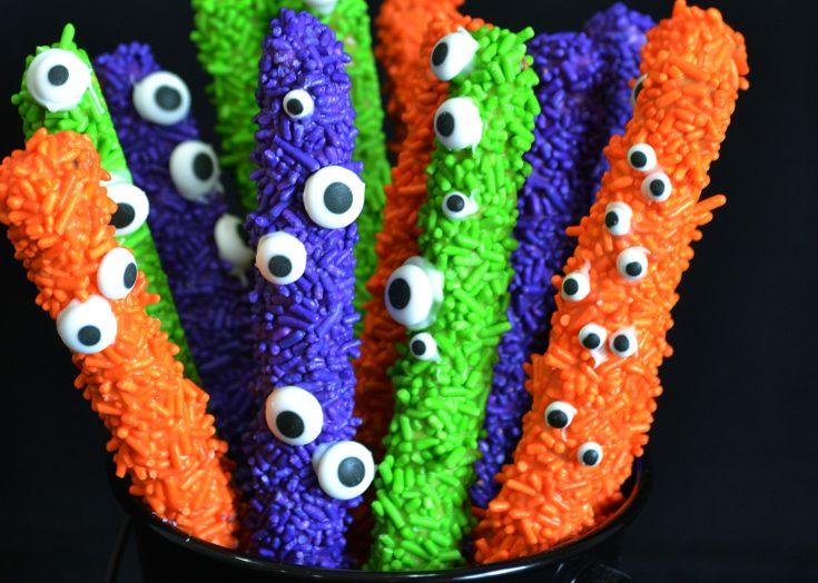 Eye of Newt Halloween Decorated Pretzels