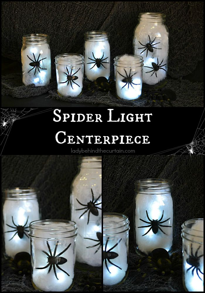 Centerpiece With Lights Down : Halloween spider light centerpiece
