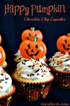 Happy Pumpkin Halloween Chocolate Chip Cupcakes