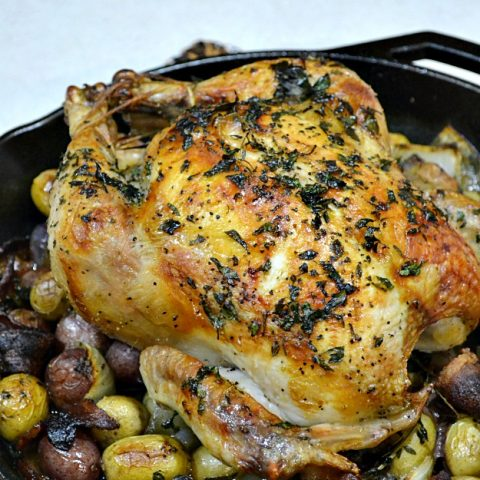 Roasted Chicken with Potatoes and Bacon
