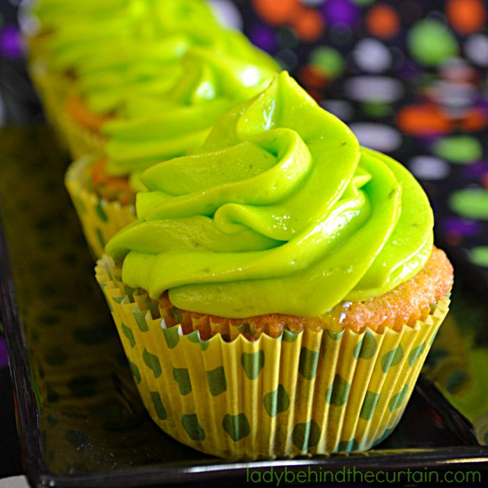 Slime Filled Coconut Lime Halloween Cupcakes: Don't be fooled by the creepy look of these cupcakes. They are delicious! Perfect for a kids Halloween party and an adult Halloween party.