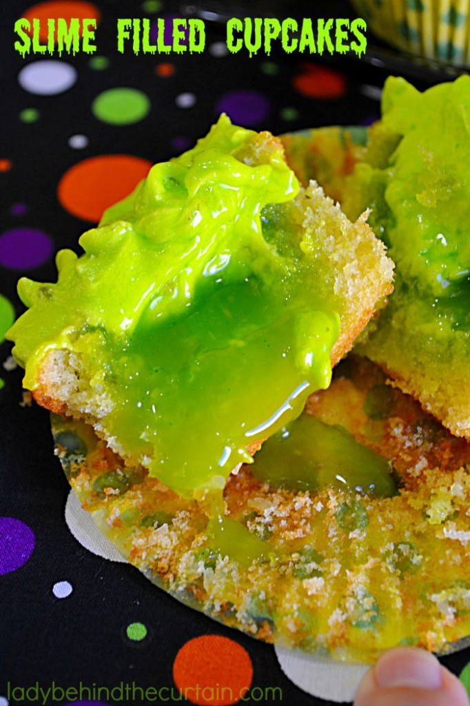 lime Filled Coconut Lime Halloween Cupcakes: Don't be fooled by the creepy look of these cupcakes. They are delicious! Perfect for a kids Halloween party and an adult Halloween party.