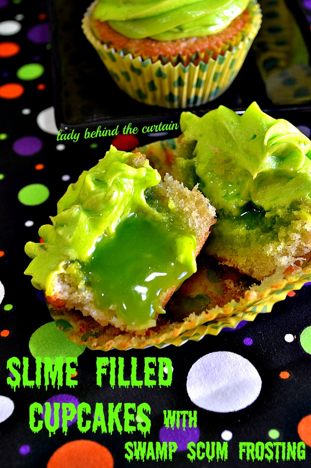 Slime Filled Cupcakes with Swamp Scum Frosting - Lady Behind The Curtain