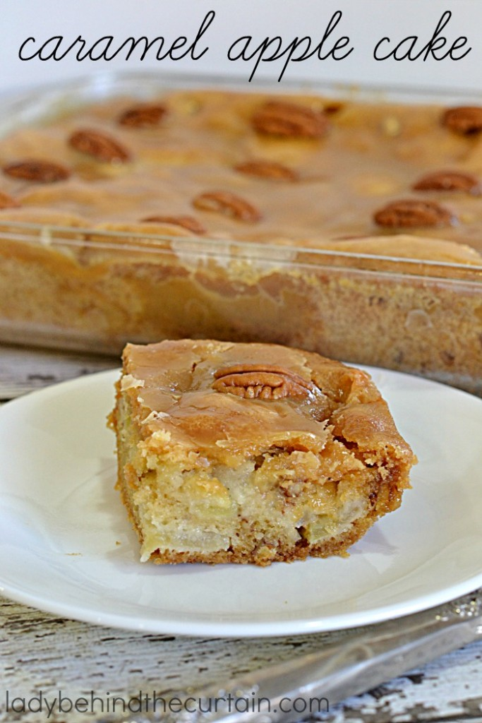 Caramel Apple Cake | A moist cake full of apples, pecans and topped with a delicious caramel icing.