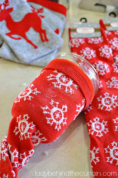 DIY Christmas Sock Cozies - Lady Behind The Curtain