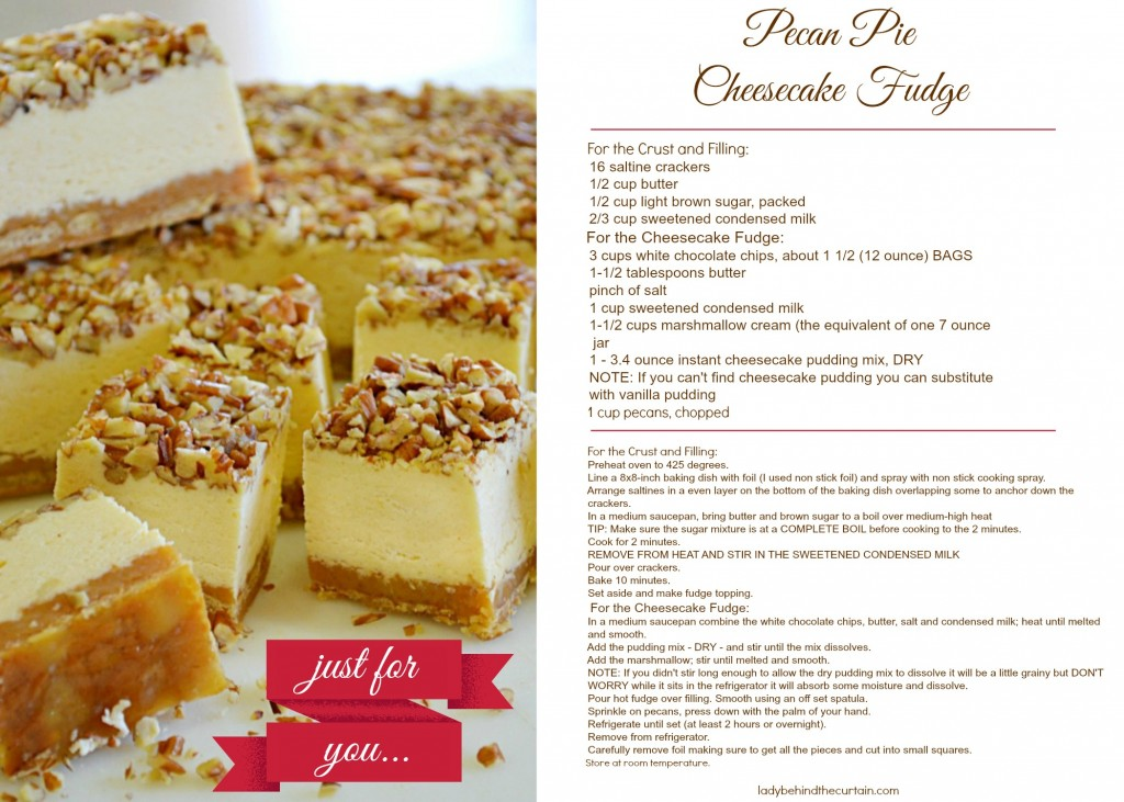 Pecan Pie Cheesecake Fudge Recipe Card