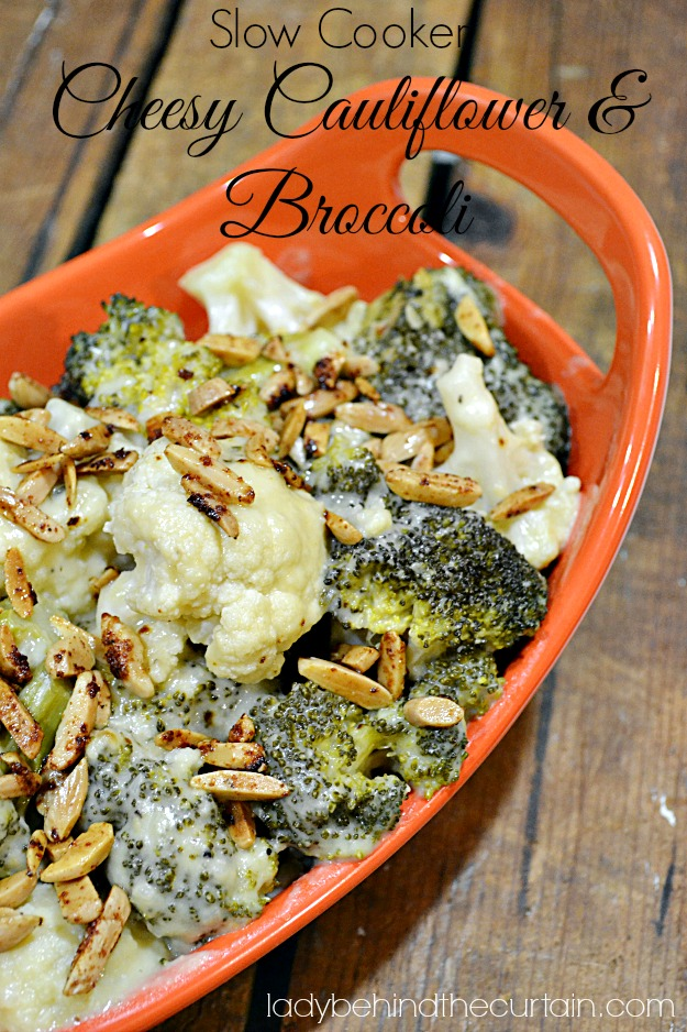 Slow Cooker Cheesy Cauliflower and Broccoli - Lady Behind The Curtain