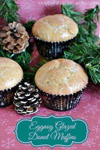 Eggnog Glazed Donut Muffins - Lady Behind The Curtain
