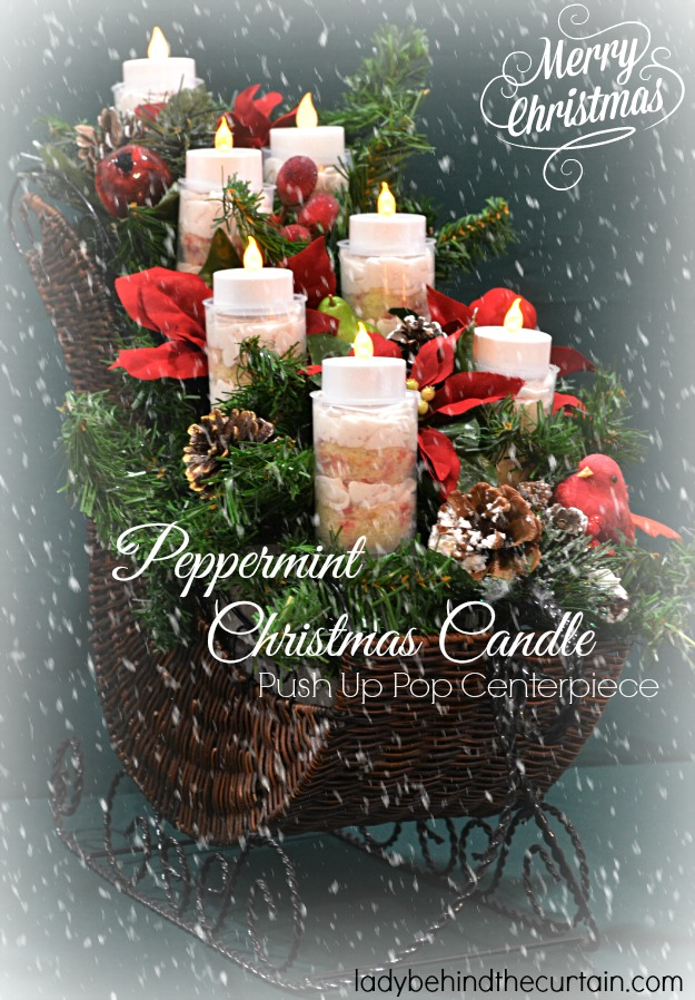 Peppermint Christmas Candle Push Up Pop Centerpiece - Lady Behind The Curtain
