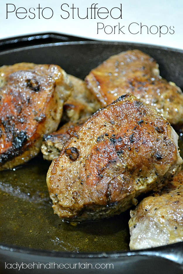 Pesto Stuffed Pork Chops - Lady Behind The Curtain