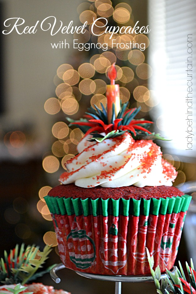 Red Velvet Cupcakes with Eggnog Frosting