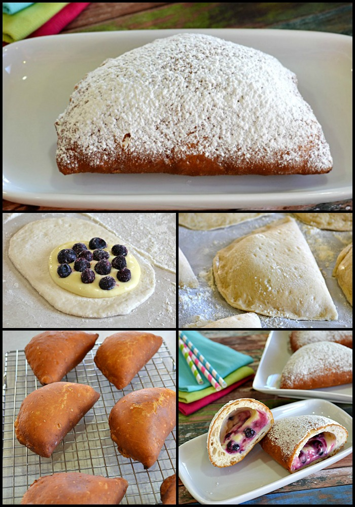 Biscuit Beignets Filled with Lemon Cream and Blueberries - Lady Behind The Curtain