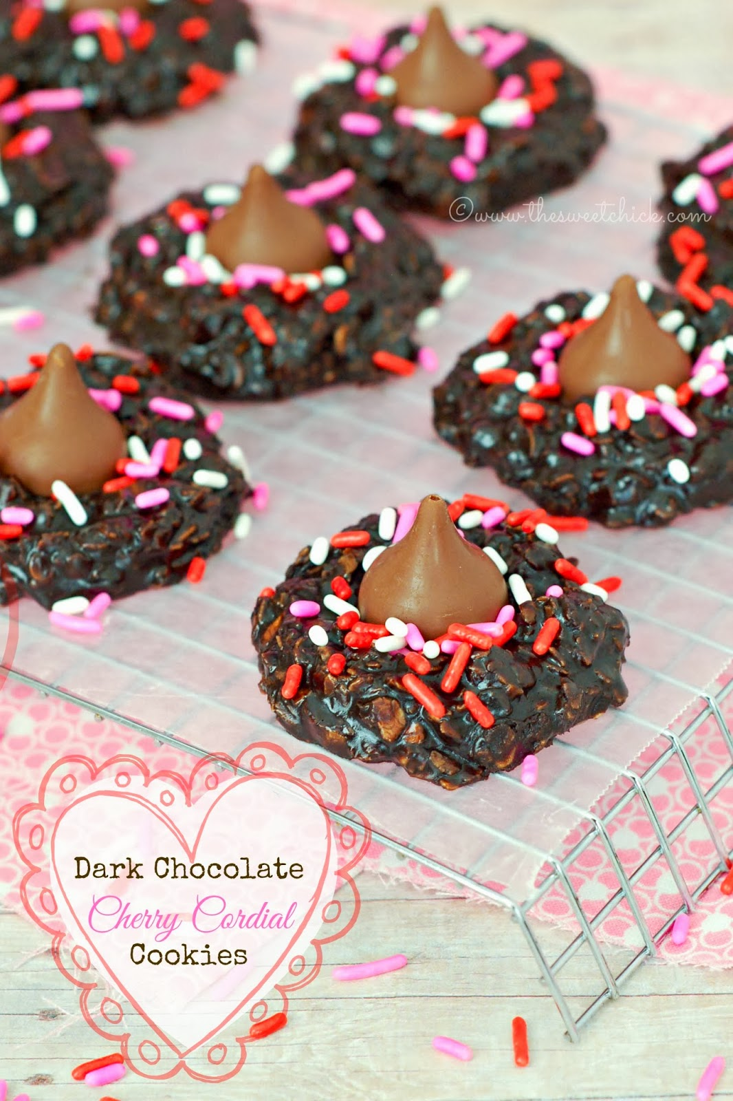 Dark Chocolate Cherry Cordial Cookies