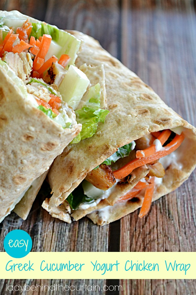 Easy Greek Cucumber Yogurt Chicken Wrap - Lady Behind The Curtain