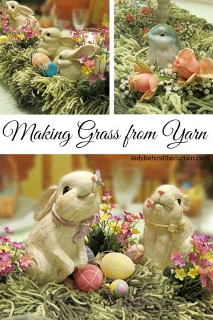 Making Grass from Yarn   Easter Centerpiece, garden party centerpiece, kite theme party centerpiece
