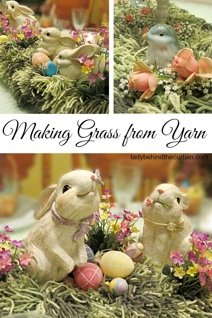 Making Grass from Yarn | Easter Centerpiece, garden party centerpiece, kite theme party centerpiece