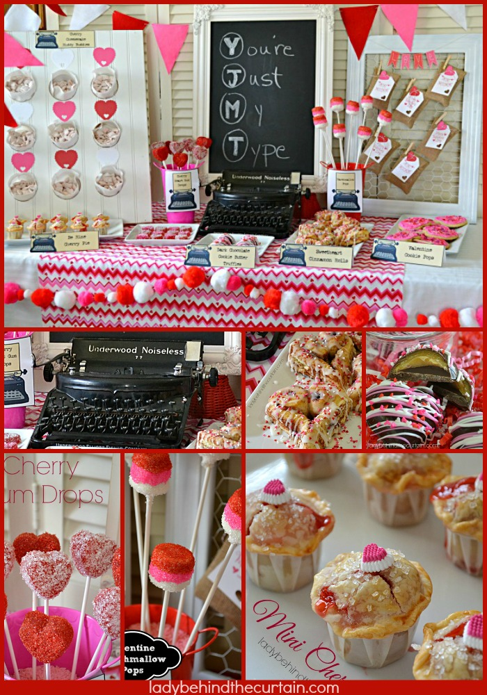 Just My Type Valentine's Day Dessert Table